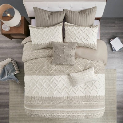 3pc Mila Cotton Printed Comforter Set with Chenille Taupe