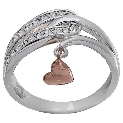 Women's Loop Ring with Rose Drop Heart and Clear Cubic Zirconia in Silver Plate - Gray/Rose - image 1 of 2