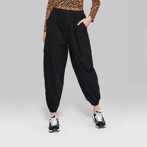 reasonably priced street price shop for luxury Women's High-Rise Baggy Cargo Pants - Wild Fable™ Black XL