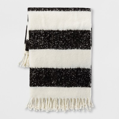 Black Stripe Faux Mohair Throw Blanket - Project 62™