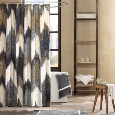 72 x72  Alpine Cotton Printed Shower Curtain Navy