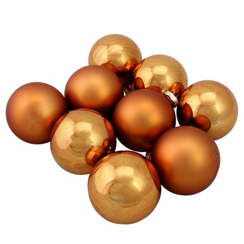 Copper Christmas Ornaments.Northlight 9pc Shiny And Matte Glass Ball Christmas Ornament Set 2 5 Copper