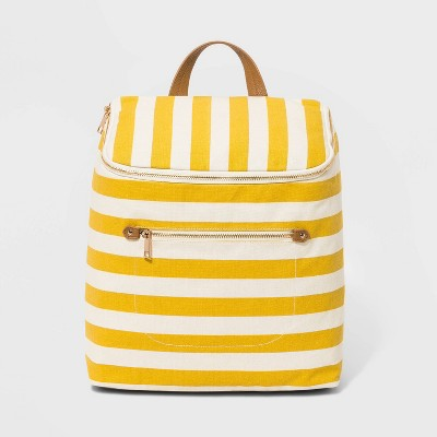 Striped Canvas Backpack - A New Day™ White/Yellow
