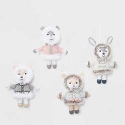 4ct Animals Dressed in Furry Outfits Christmas Ornament Set - Wondershop™
