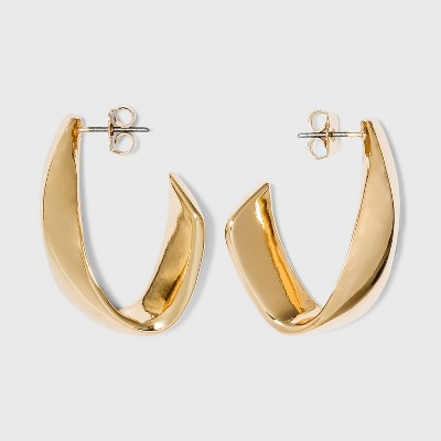 Twisted Metal Hoop Earrings - A New Day™ Gold