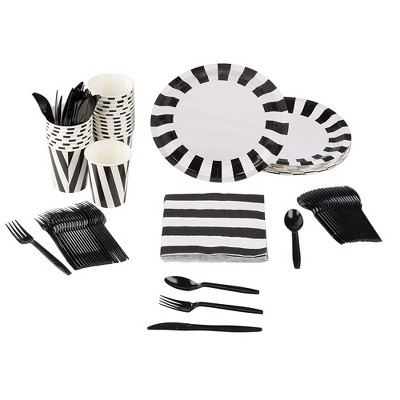 Blue Panda 144 Pieces Black & White Party Supplies- Disposable Plates, Napkins, Cups & Cutlery (24 Guests)