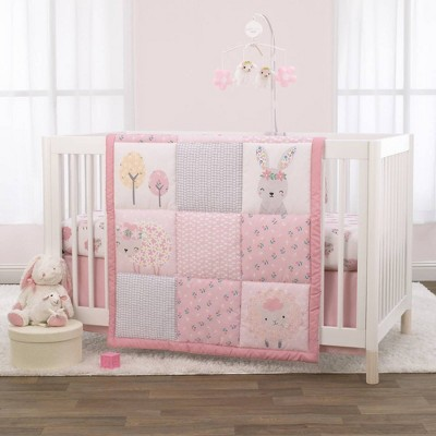 Little Love By NoJo Farm Chic Little Lambs Crib Bedding Set - Pink/Gray/White 3pc