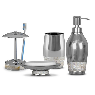 4pc Jakarta Metal Bath Accessory Set for Vanity Counter Tops Silver - Nu Steel
