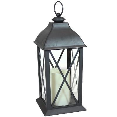 "10"" Lexington Plastic and Glass Battery Operated Indoor LED Candle Lantern - Black - Sunnydaze Decor"