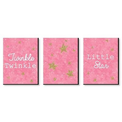 Big Dot of Happiness Pink Twinkle Twinkle Little Star - Baby Girl Nursery Wall Art & Kids Room Decor - Gift Ideas - 7.5 x 10 inches - Set of 3 Prints