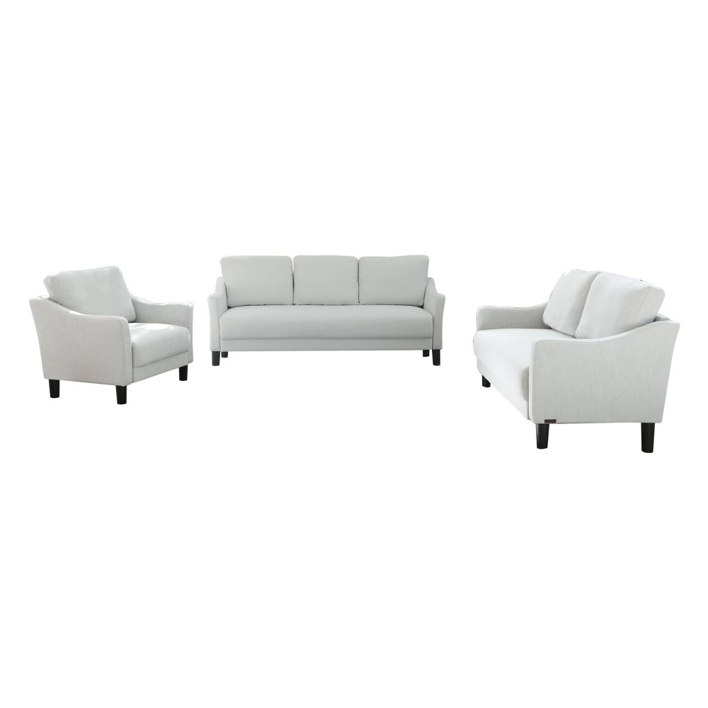 Image of 3pc Cleo Fabric Sofa, Loveseat & Armchair Set Gray - Abbyson Living