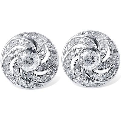 Pompeii3 3/4ct Diamond Studs & Floral Earring Jackets 14K White Gold