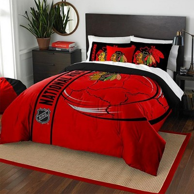 NHL Chicago Blackhawks Comforter Set Hockey Silhouette