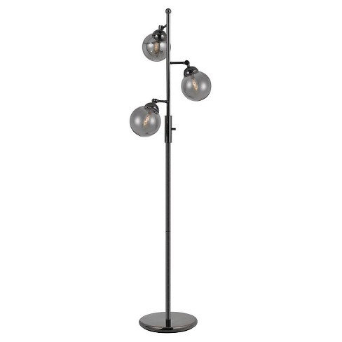 Cal Lighting Prato Metal Floor Lamp with 3 Adjustable Glass Shades - Gin Metal - image 1 of 1