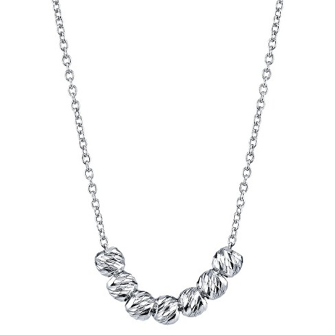 Sterling Silver Chain with 7 Beads Pendant - Silver - image 1 of 1