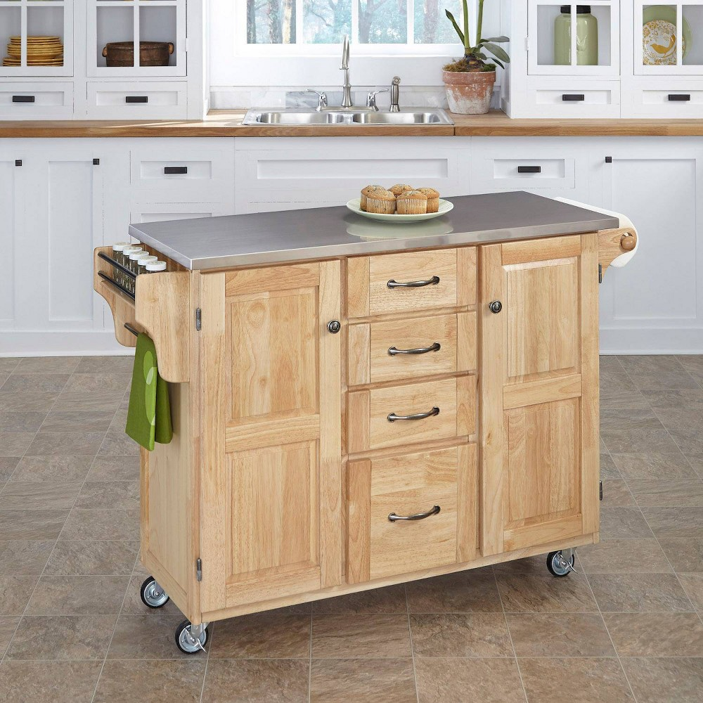 Kitchen Carts And Islands with Stainless Top Silver - Home Styles