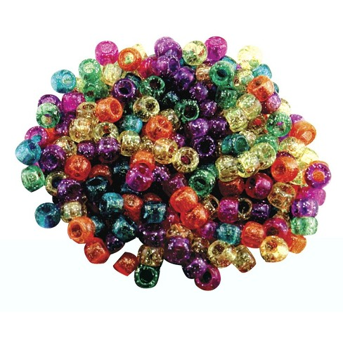 Hygloss Plastic Pony Beads, 6 x 9 mm, Assorted Glitter Colors, set of 1000 - image 1 of 1