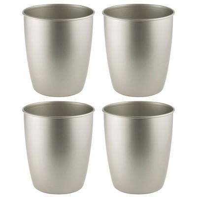 mDesign Round Metal Trash Can Wastebasket, Garbage Container, 4 Pack