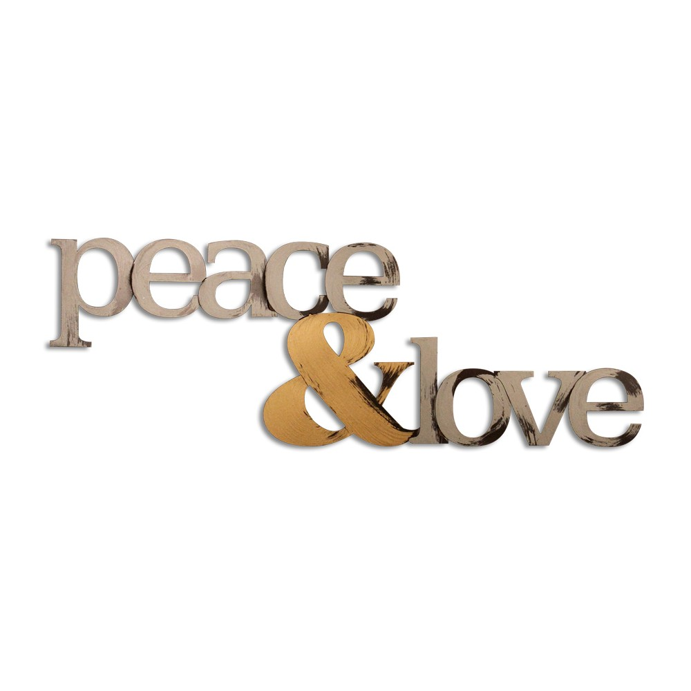 Letter2Word Hand Painted Peace & Love 3D Wall Sculpture - Nickel, Brushed Nickel
