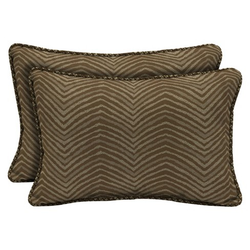 Zebra 2pc Outdoor Lumbar Pillows w/ Welt - Brown - Bombay Outdoors - image 1 of 1