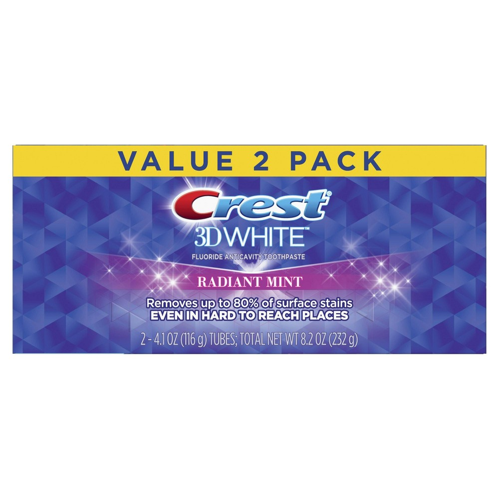 Image of Crest 3D White, Whitening Toothpaste Radiant Mint, 4.1 oz, Pack of 2