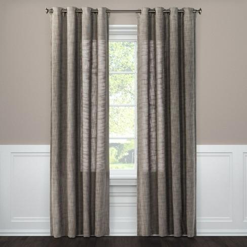 Weave Textured Light Filtering Window Curtain Panels Threshold