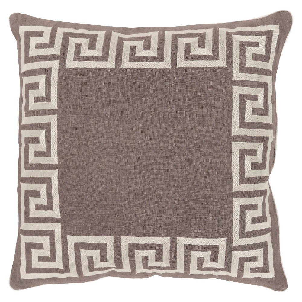 Beige Greek Fret Throw Pillow 18