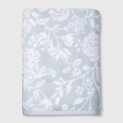 Performance Texture Bath Towel Light Blue Floral - Threshold™