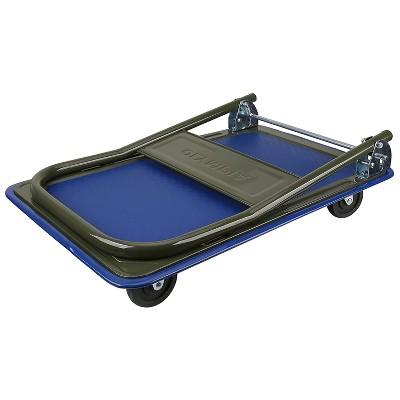 Olympia Tools 85-180 300-Lbs Capacity Heavy Duty Folding Steel Frame Utility Flatbed Rolling Cart Platform Dolly w/ No Slip Deck & Swivel Wheels, Blue