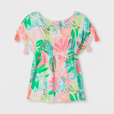 Baby Girls' Floral Cover Up - Cat & Jack™ Coral 9M