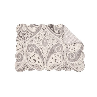 C&F Home Nazima Gray Cotton Quilted Rectangular Reversible Placemat Set of 6