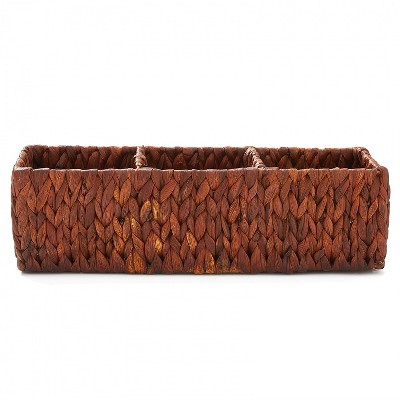 """Americanflat Rectangular Hand Woven Basket with Durable Metal Frame - 16.5"""" x 6"""" x 5"""""""