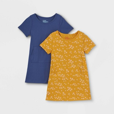 Toddler Girls' Adaptive Abdominal Access 2pk Knit Short Sleeve Dress - Cat & Jack™ Blue/Mustard Yellow