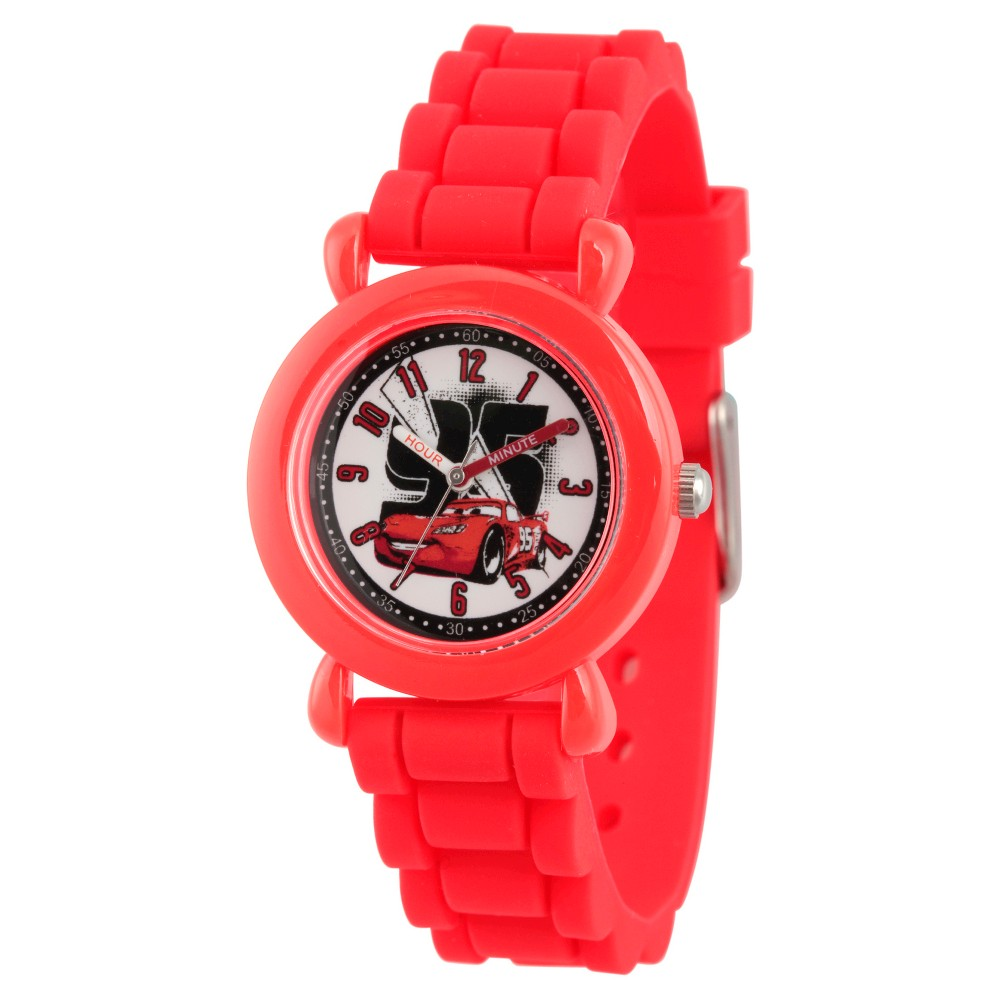 Image of Boys' Disney Cars Lightning McQueen Red Plastic Time Teacher Watch, Red Silicone Strap, WDS000149, Boy's