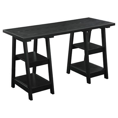 Double Trestle Desk Black - Breighton Home