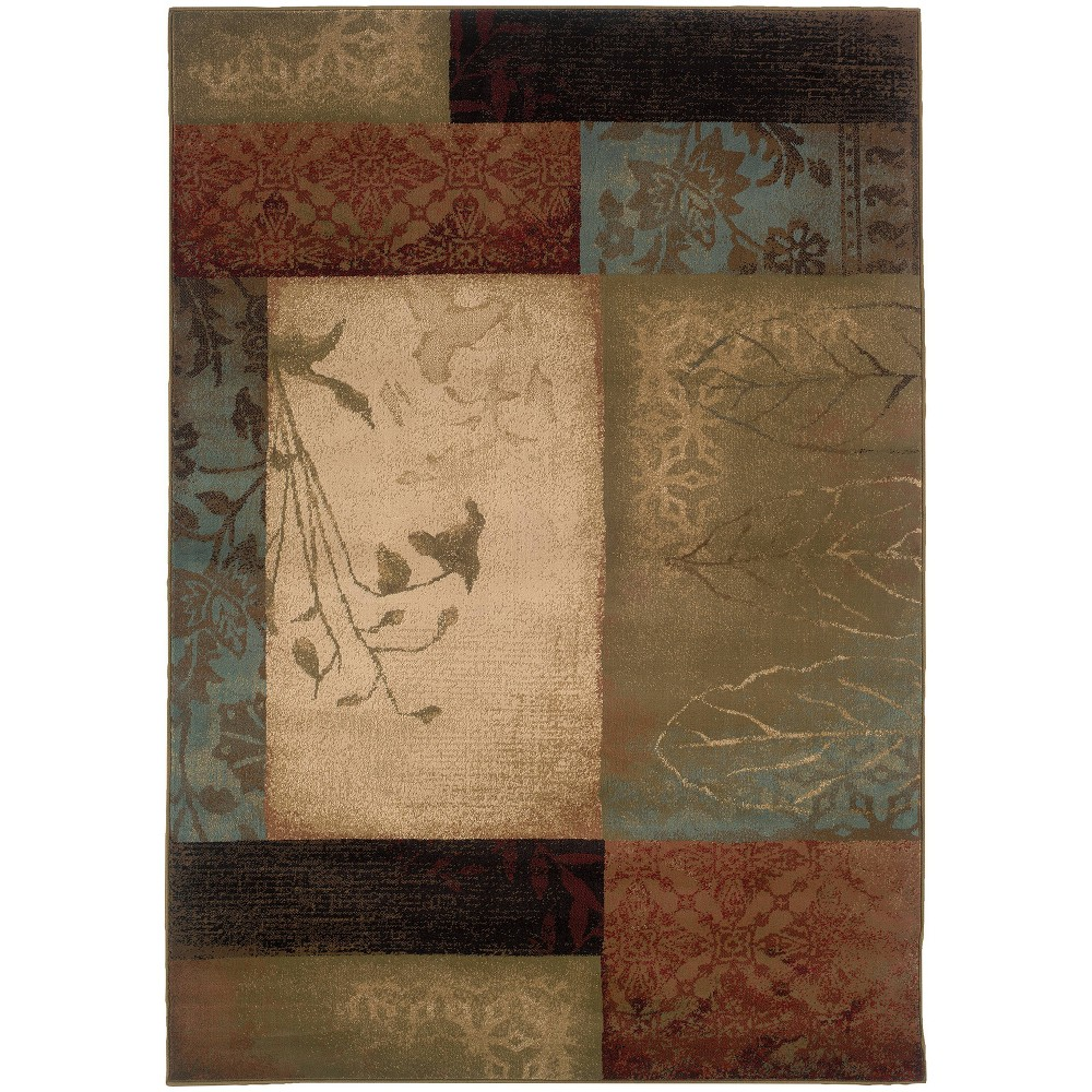 10 39 X13 39 Heath Botanical Block Rug Green