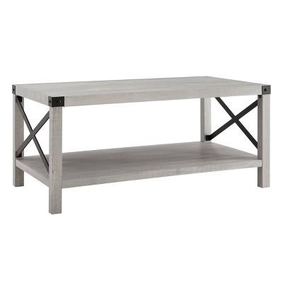 "40"" Rustic Farmhouse X Side Coffee Table Stone Gray - Saracina Home"