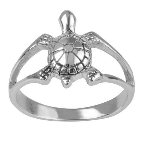 Women's Journee Collection Split Band Turtle Ring in Sterling Silver - Silver - image 1 of 2