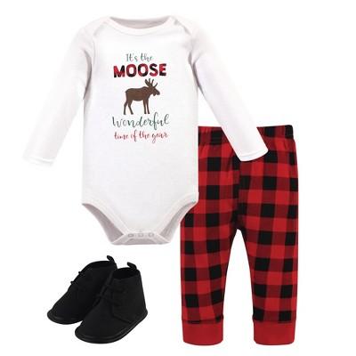 Hudson Baby Infant Boy Cotton Bodysuit, Pant and Shoe 3pc Set, Moose Wonderful Time