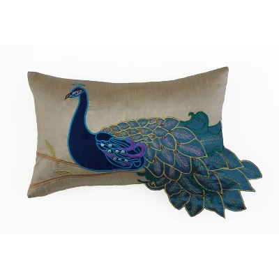 "12""x20"" Peacock Embroidered Faux Silk Pillow Blue/Green - Décor Therapy"
