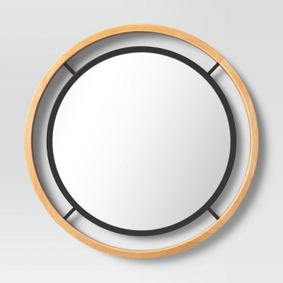 "23"" Round Natural Wood mirror with Metal - Threshold™"