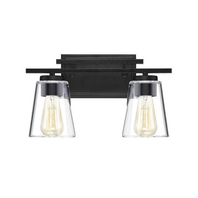 "14.6"" 2 Light Bath Sconce with Glass Black - Aurora Lighting"