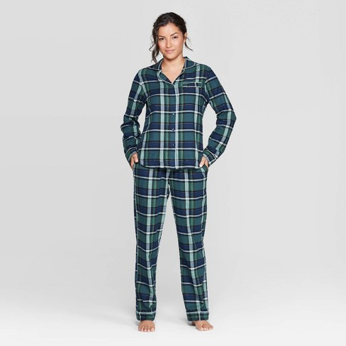 Women's Plaid Perfectly Cozy Flannel Pajama Set - Stars Above™ Green - image 1 of 2