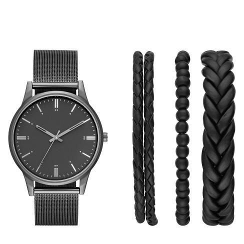 Men's Mesh Strap Watch Set - Goodfellow & Co™ Black - image 1 of 1