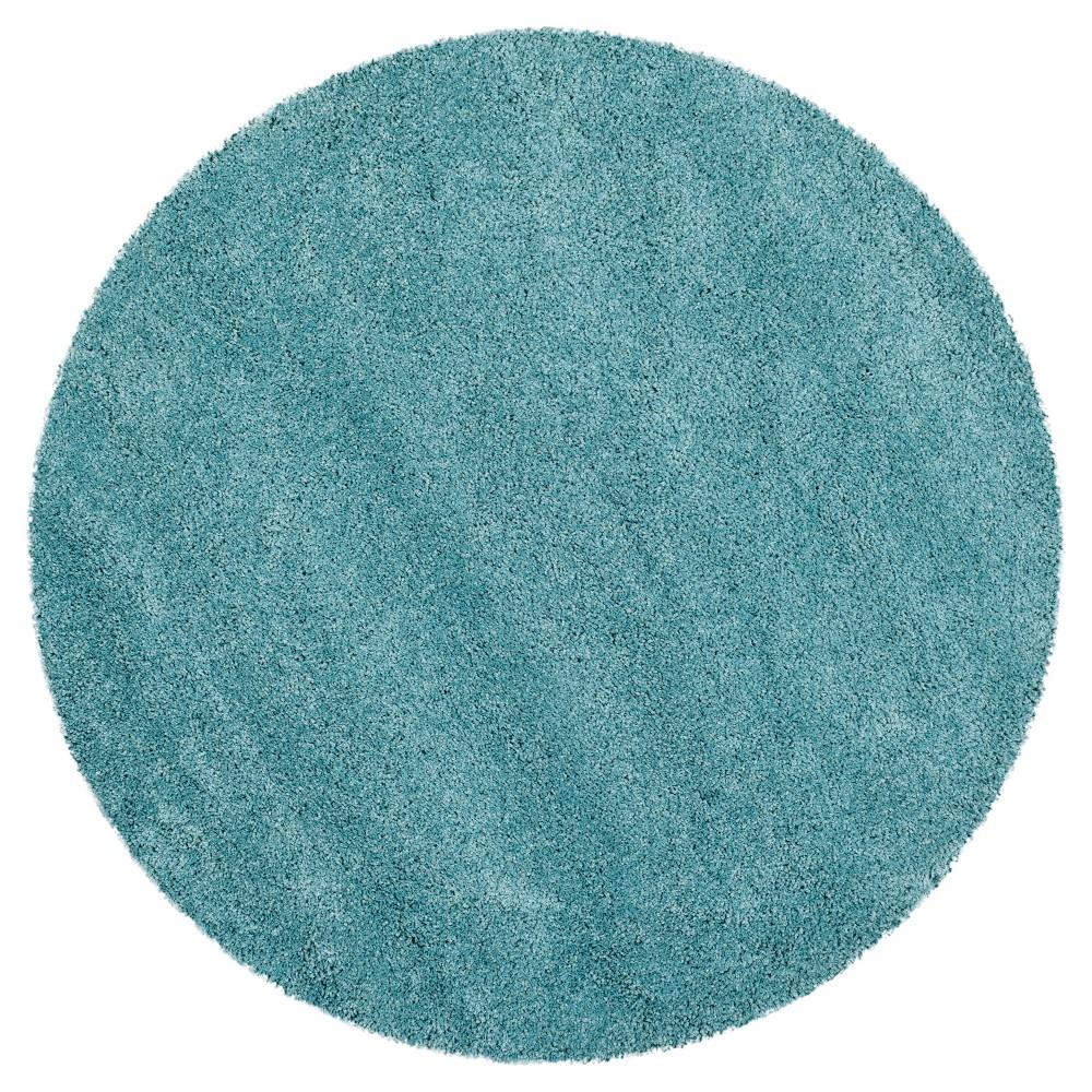 Aqua Blue Solid Shag/Flokati Loomed Round Area Rug - (5'1 Round) - Safavieh