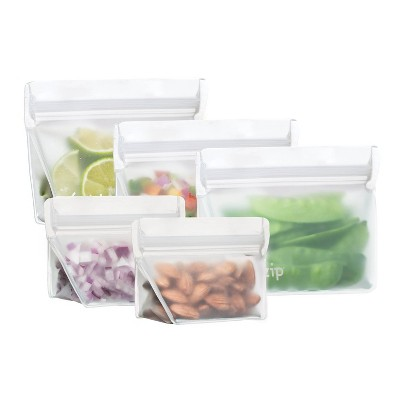 (re)zip Leak-Proof Clear Reusable Stand Up Storage Starter Kit - 5ct
