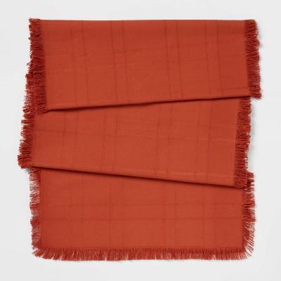"90"" x 20"" Cotton Solid Table Runner Orange - Threshold™"