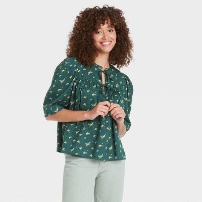 Women's Puff Short Sleeve Tie Neck Blouse - Universal Thread™