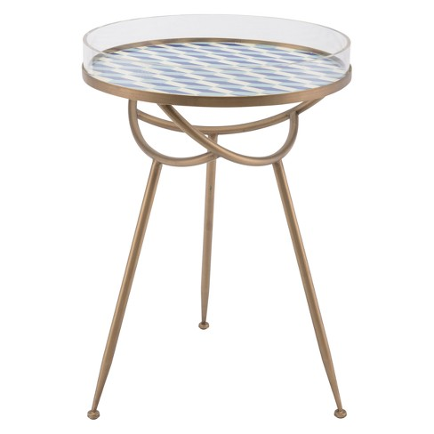 "18"" Tribal Round Steel and Acrylic Accent Table - Gold & Blue - ZM Home - image 1 of 1"