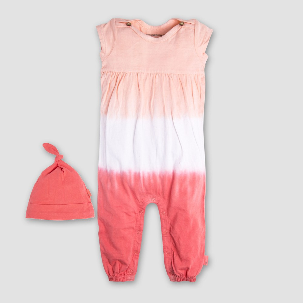 Burt's Bees Baby Girls' Organic Cotton Sunrise Dip Dye Coverall & Hat Set - Coral/Pink 12M, Multicolored